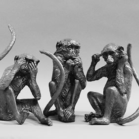 GREEN MONKEYS - SEE NO EVIL, HEAR NO EVIL, SPEAK NO EVIL<br />click to enlarge