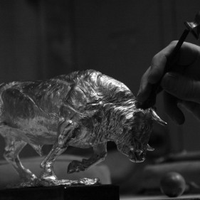 Hand Chasing of the Sterling Silver Bull - The Charge